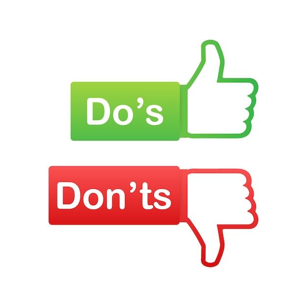 Do's and don'ts wie daumen hoch oder runter. flache einfache daumen symbol minimal runde logo elementsatz isoliert auf weiss. Premium Vektoren
