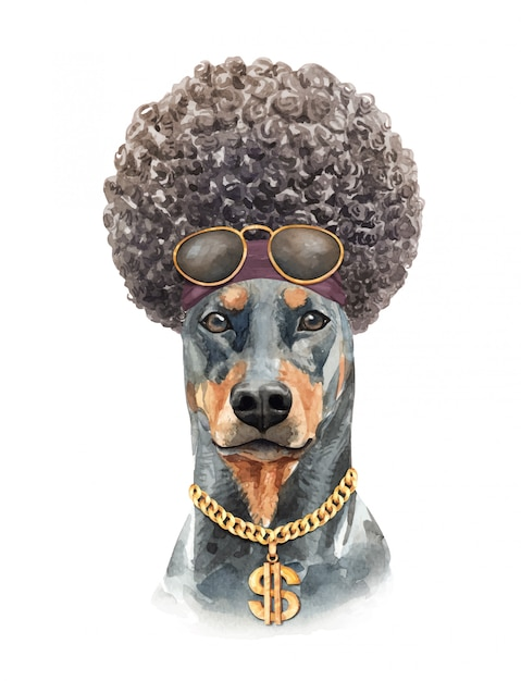 Dobermannhundeaquarell mit dem afrohaar. Premium Vektoren