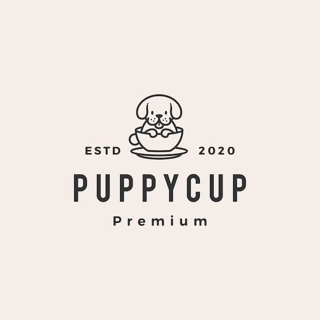 Dog cup hipster vintage logo icon illustration Premium Vektoren