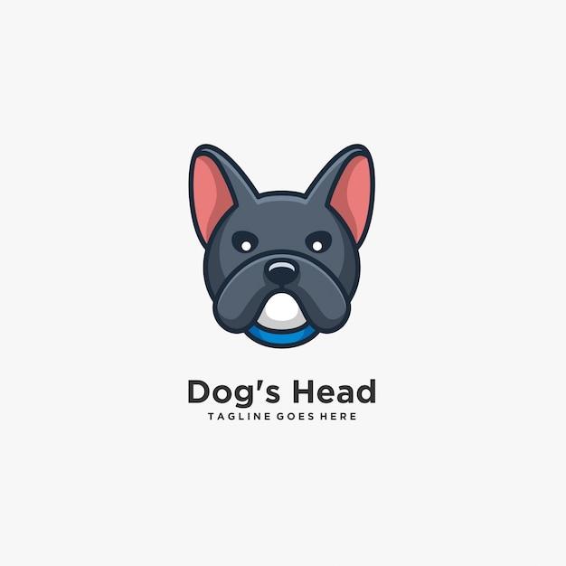 Dog head cute pose illustration logo Premium Vektoren