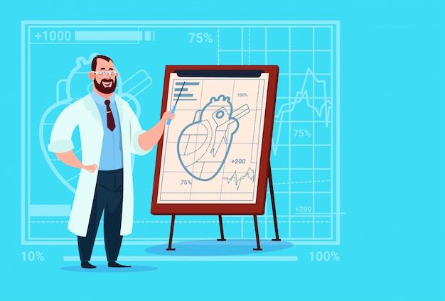 Doktor cardiologist over flip chart mit arbeitskraft-krankenhaus des herz-medizinischen kliniken Premium Vektoren