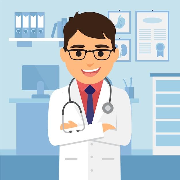 Doktor charakter hintergrund Kostenlosen Vektoren