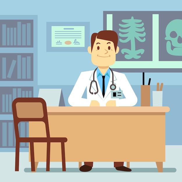 Doktor, der am tisch im medizinischen vektorgesundheitswesenkonzept sitzt. charakterberufsarzt o Premium Vektoren