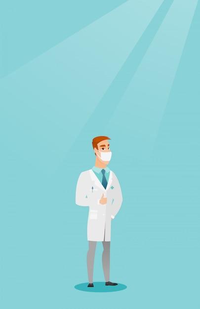 Doktor, der daumen herauf vektorillustration gibt. Premium Vektoren