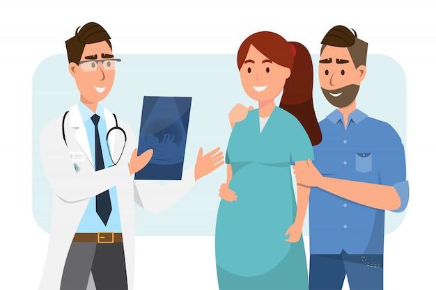 Doktor, der der schwangeren frau und ihrem ehemann ultraschallblatt am krankenhaus zeigt. Premium Vektoren