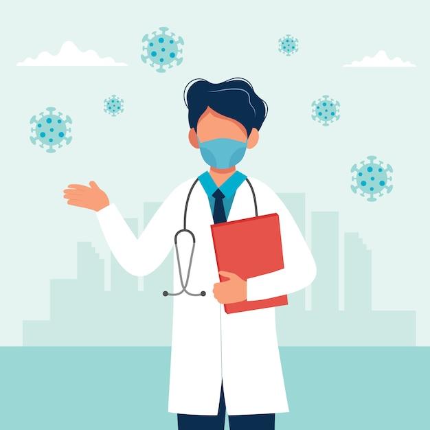 Doktor, der eine medizinische maske trägt Premium Vektoren