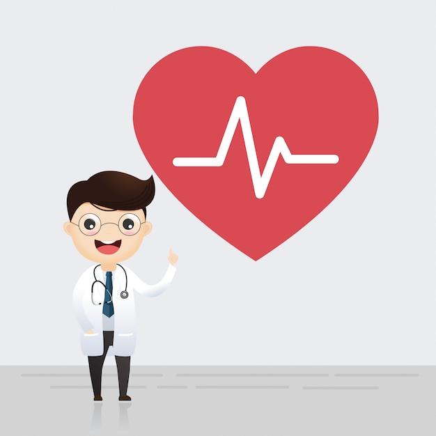 Doktor, der mit zeichen des herzschlags steht. gesundheitskonzept. vektor-illustration Premium Vektoren