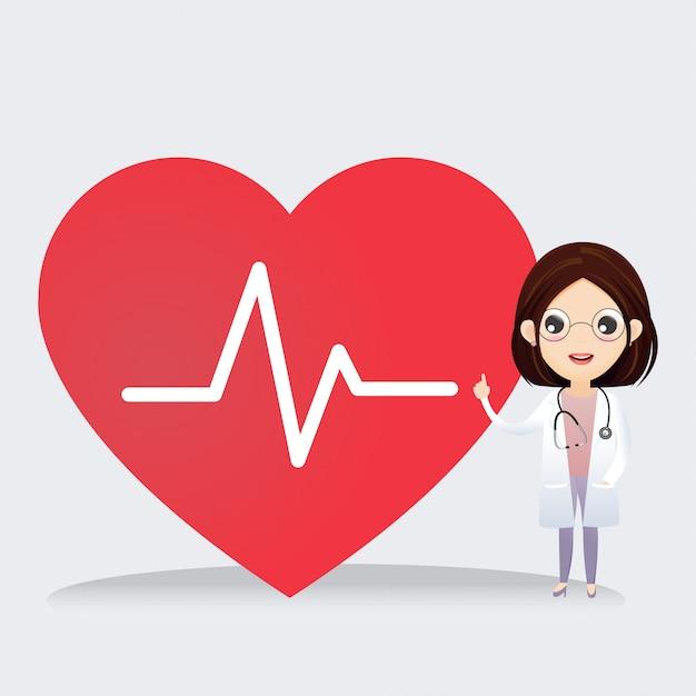 Doktor, der mit zeichen des herzschlags steht. gesundheitskonzept. Premium Vektoren