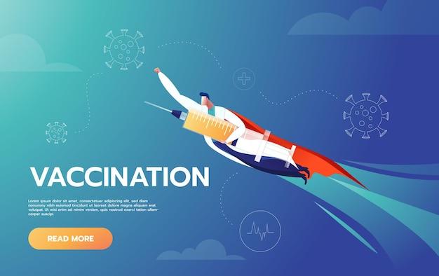 Doktor ist held, der impfstoff hält und fliegt, um menschen zu schützen Kostenlosen Vektoren