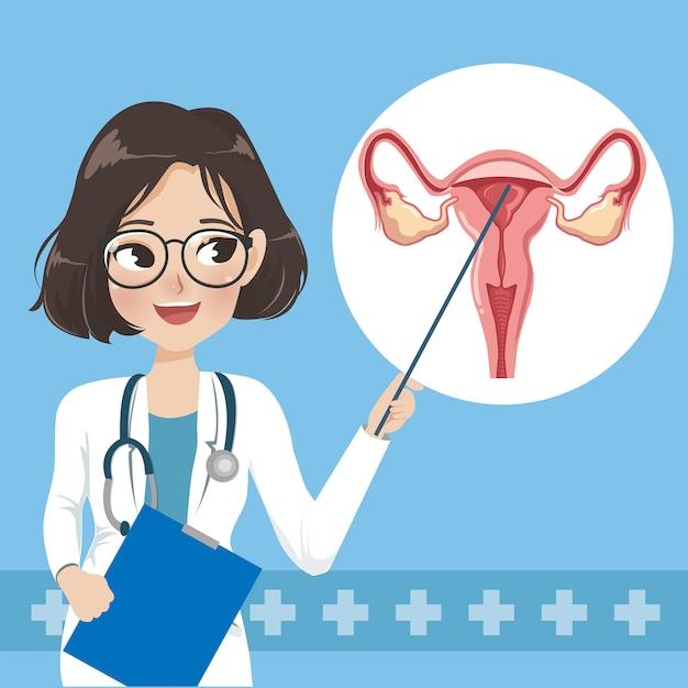 Doktor stellt wissen über gebärmutterhalskrebsversorgung vor. Premium Vektoren