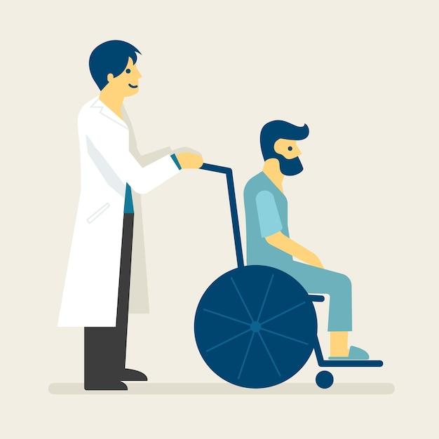 Doktor und ein patient auf rollstuhlillustration. Premium Vektoren