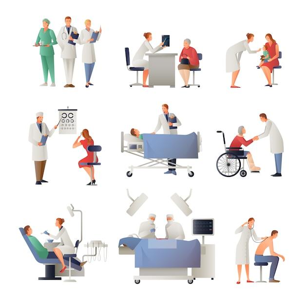 Doktor und geduldige flache ikonen eingestellt Kostenlosen Vektoren