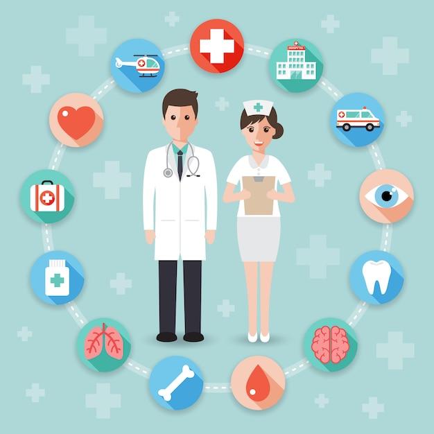 Doktor und krankenschwester mit medizinischen ikonen. Premium Vektoren
