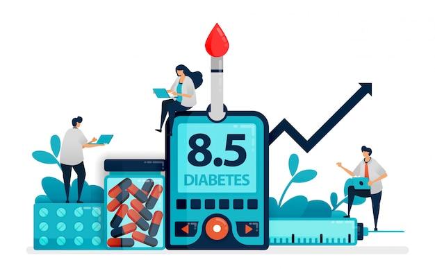 Doktor und leute überprüfen blutzuckerspiegel mit glukosemeter. diabetes typ zwei check-up. diät für nicht übertragbare krankheiten. insulin überprüfen. Premium Vektoren