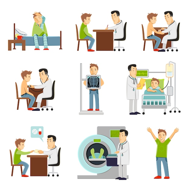 Doktor und patient eingestellt Kostenlosen Vektoren