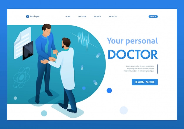 Doktor verständigt sich mit dem patienten. gesundheitskonzept. 3d isometrisch. landingpage-konzepte und webdesign Premium Vektoren