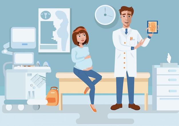 Doktor zeigt schwangere frau des ultraschallbildes. Premium Vektoren