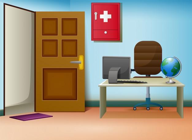Doktorberatungsrauminnenraum in der klinik Premium Vektoren