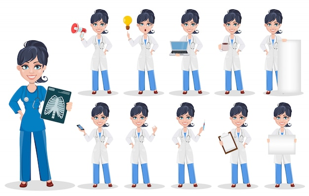 Doktorfrau, professionelles medizinisches personal Premium Vektoren
