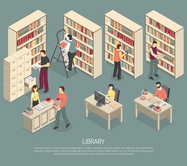 Dokumentbibliothek-archiv-innen-isometrische illustration Kostenlosen Vektoren