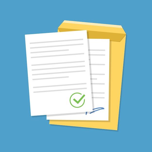Dokumente bestätigt oder genehmigt dokument. Premium Vektoren