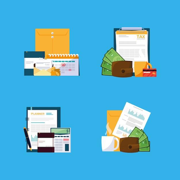 Dokumente und büroausstattung Premium Vektoren