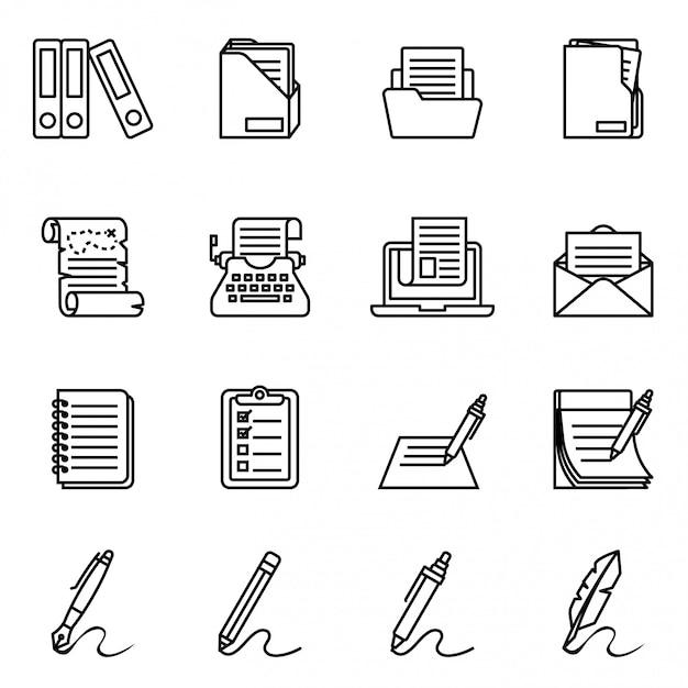 Dokumenten-, papier- und ordner-icon-set. dünne linie artvorratvektor eine ikone stellte mit weißem hintergrund ein. dünne strichstärke Premium Vektoren