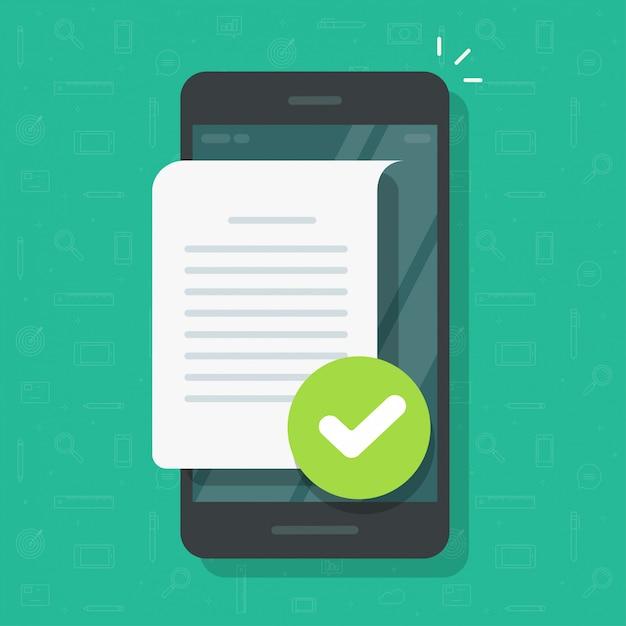 Dokumentendateiseite mit häkchen auf der handy- oder textdateianmerkung bestätigte mit häkchen auf flacher karikaturillustration des mobiltelefons Premium Vektoren