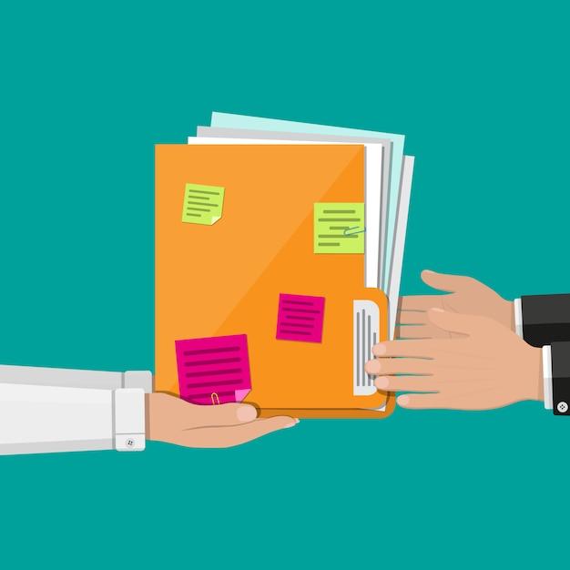Dokumentenordner mit papierbögen, haftnotizen Premium Vektoren