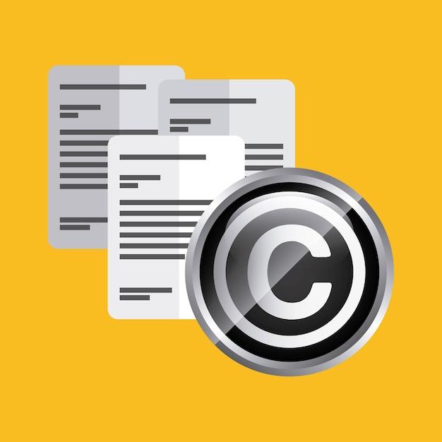 Dokumentsymbol urheberrecht design. vektorgrafik Premium Vektoren