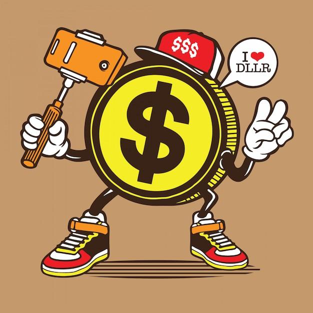$ dollar coin selfie charakter Premium Vektoren