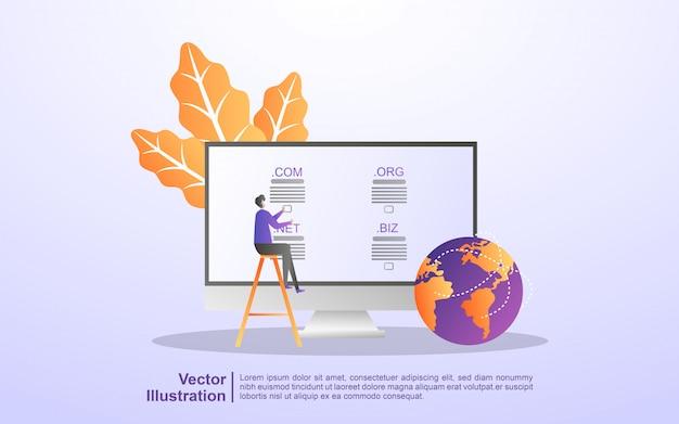 Domain name und registrierungskonzept. registrieren sie eine website-domain und wählen sie die richtige domain aus Premium Vektoren