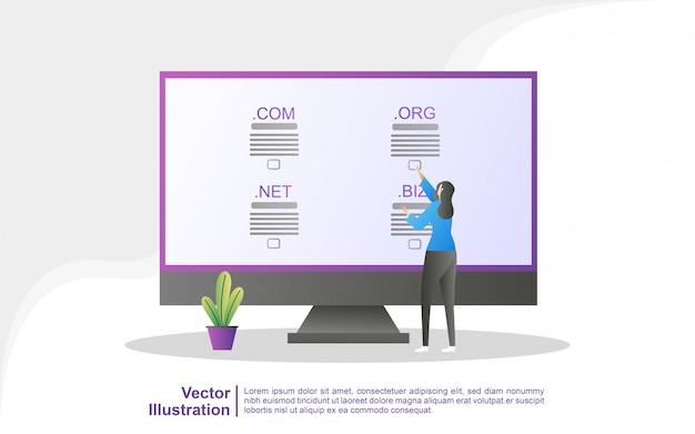 Domain name und registrierungskonzept. registrieren sie eine website-domain und wählen sie die richtige domain aus. Premium Vektoren