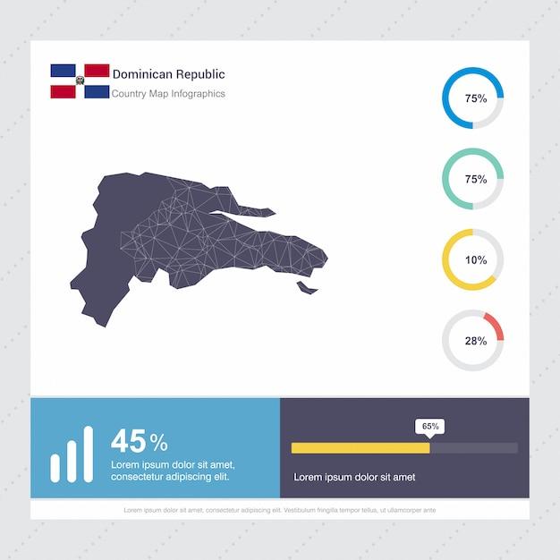 Dominikanische Republik Karte U Markierungsfahne Infographics