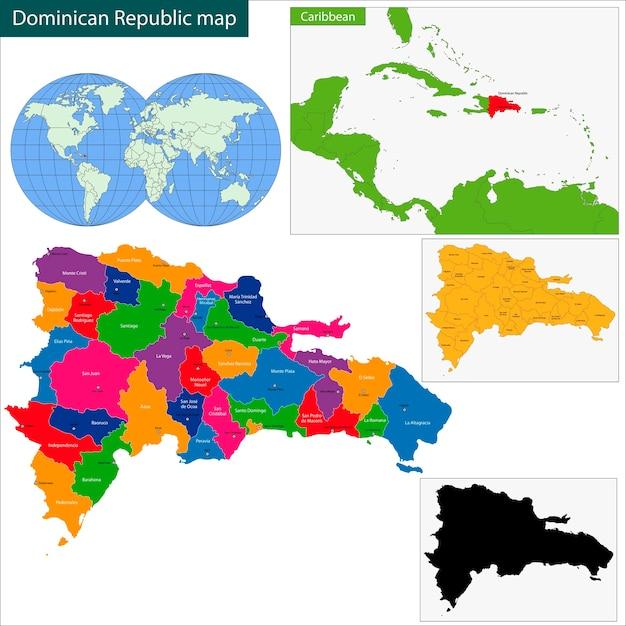 Dominikanische Republik Karte Download Der Premium Vektor