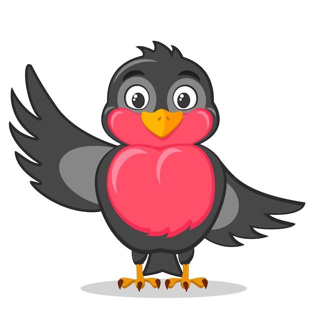 Dompfaffenvogel, der hallo flügel auf einem weißen hintergrund winkt. Premium Vektoren