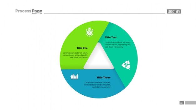 Donut-diagramm mit drei abschnitten Premium Vektoren
