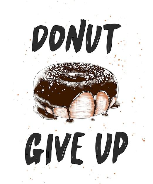 Donut mit eingraviertem donut, schriftzug aufgeben Premium Vektoren