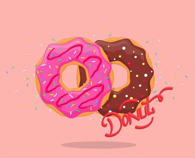 Donut mit rosa glasur und schokolade. süße zuckergussschaumzucker mit beschriftungslogo. draufsicht Premium Vektoren