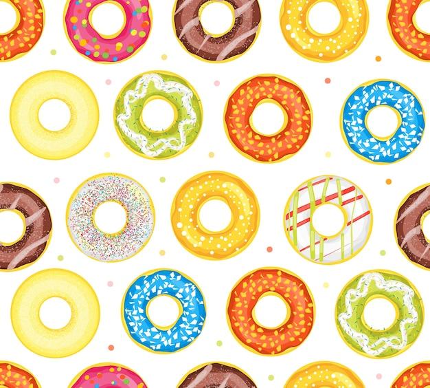 Donut set verschiedene süße dessert. Premium Vektoren