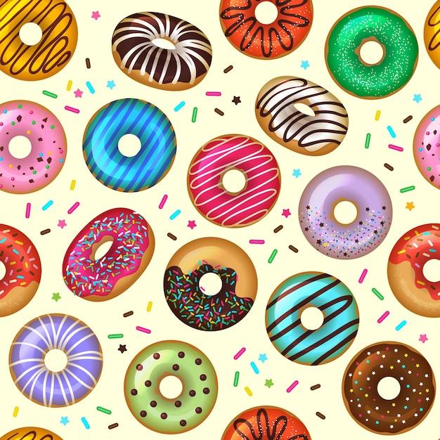 Donuts muster. leckeres backdessert farbiger nahtloser hintergrund. illustration muster donut, bäckerei köstliche belag Premium Vektoren