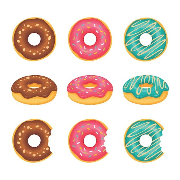 Donuts sieht von oben und von den seiten und donuts, die gebissen wurden Premium Vektoren