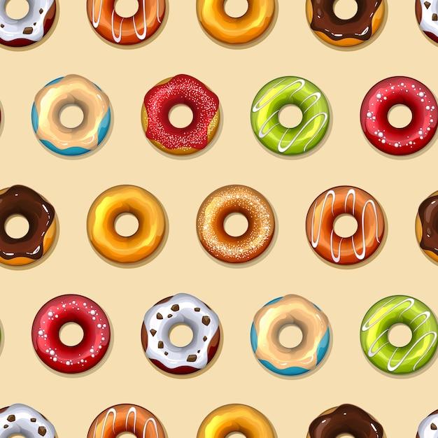Donuts vektor nahtloses muster. essen, süß lecker, zucker und schokolade Kostenlosen Vektoren