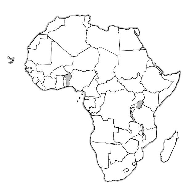 Doodle afrika karte Kostenlosen Vektoren