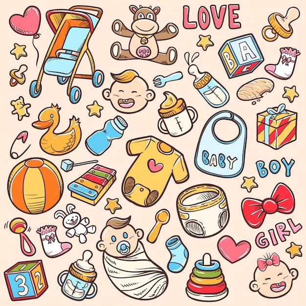 Doodle baby shower sets lager vektor färbung illustration Premium Vektoren