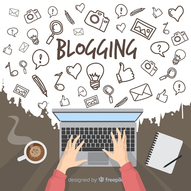 Doodle-blogging-konzept Kostenlosen Vektoren