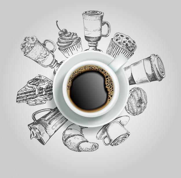 Doodle donut, kuchen, cupcake, croissant und kaffeegetränke Premium Vektoren
