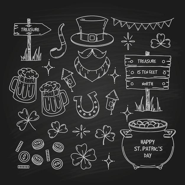 Doodle-element-sammlung zum st. patrick's day Premium Vektoren