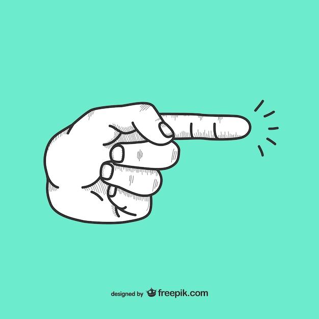 Doodle finger die richtung anzeigt, Kostenlosen Vektoren