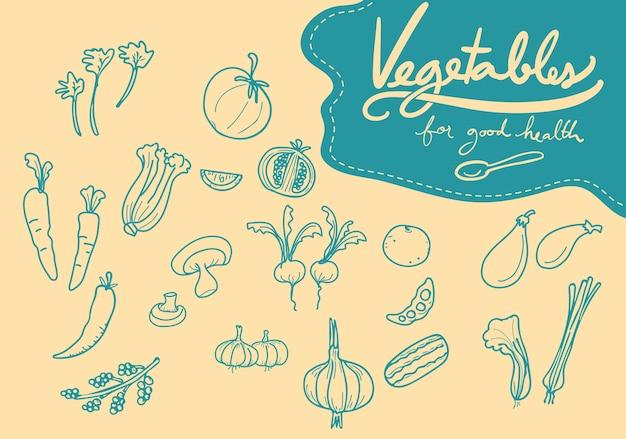 Doodle gemüse Premium Vektoren